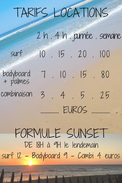 location de matériel de surf au porge océan, location surf, location combinaison, location bodyboard, tarifs