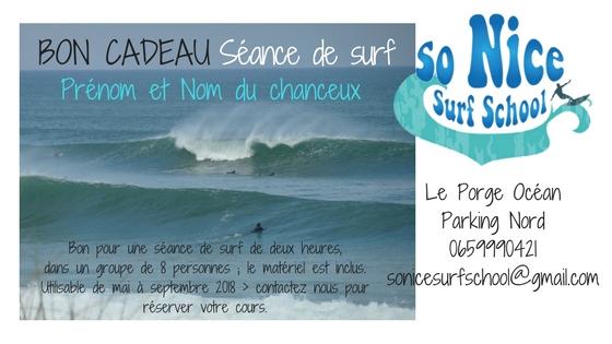 BON CADEAU une seance surf